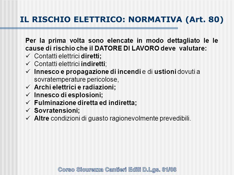IL RISCHIO ELETTRICO: NORMATIVA (Art. 80)