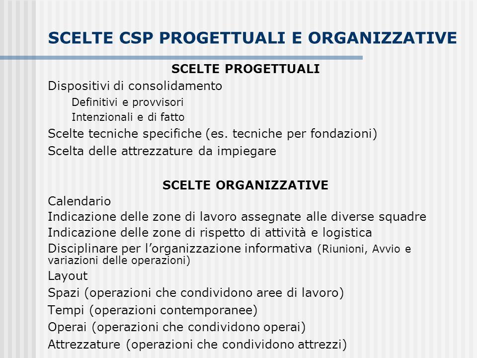 SCELTE CSP PROGETTUALI E ORGANIZZATIVE