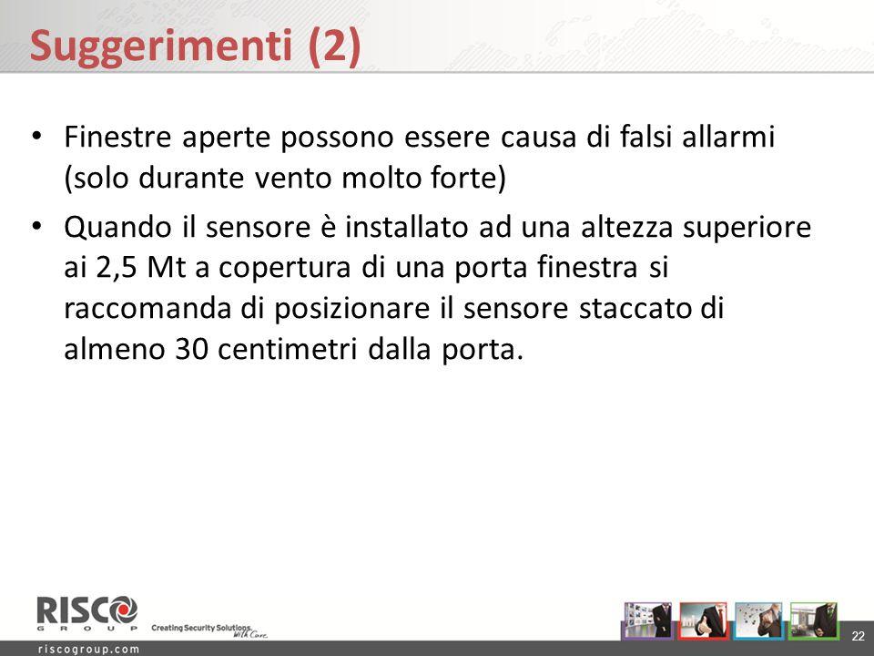 Suggerimenti (2) Finestre aperte possono essere causa di falsi allarmi (solo durante vento molto forte)