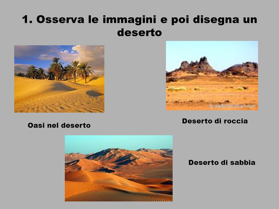 1. Osserva le immagini e poi disegna un deserto