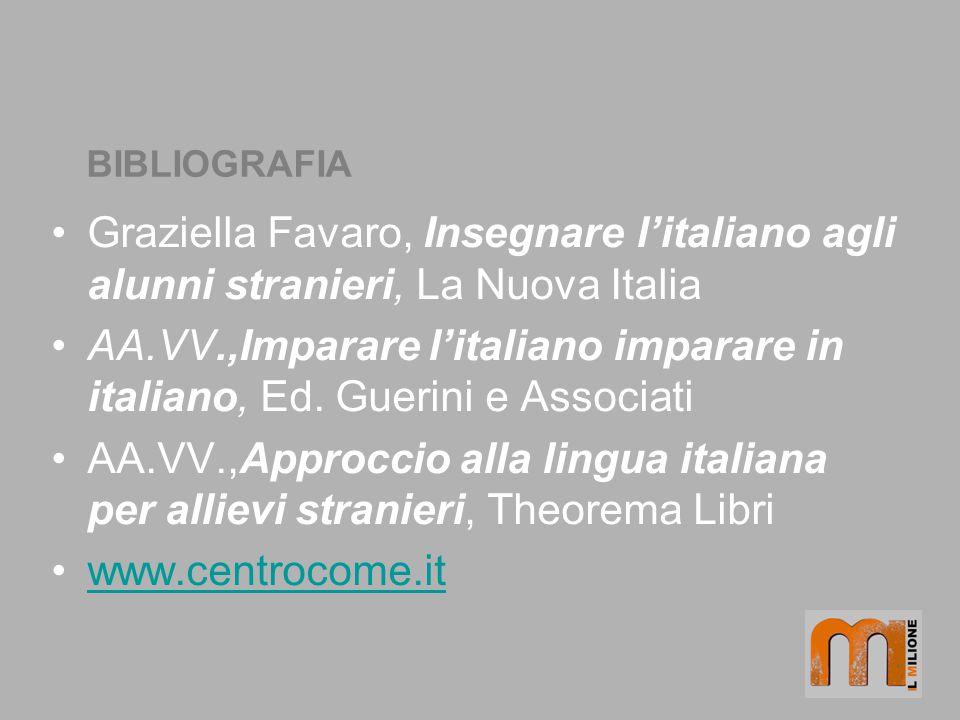 BIBLIOGRAFIA Graziella Favaro, Insegnare l'italiano agli alunni stranieri, La Nuova Italia.