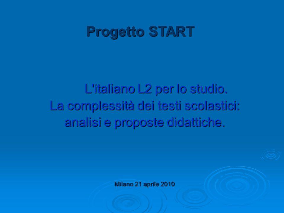L italiano L2 per lo studio. La complessità dei testi scolastici: