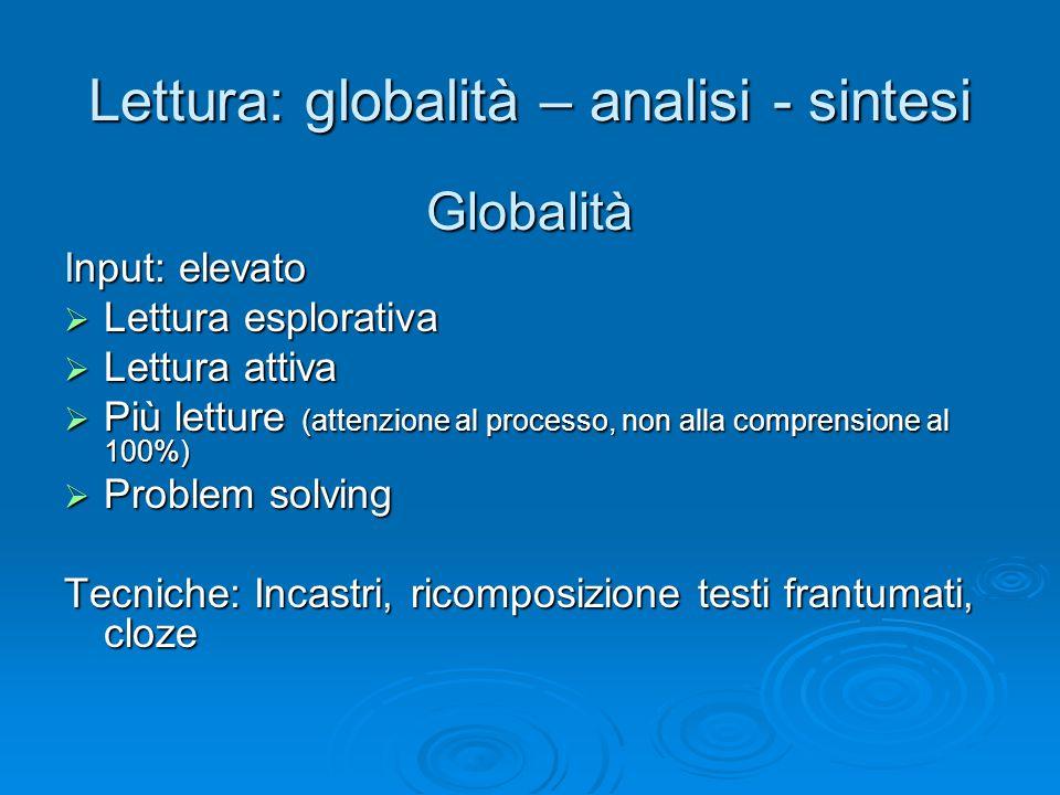 Lettura: globalità – analisi - sintesi