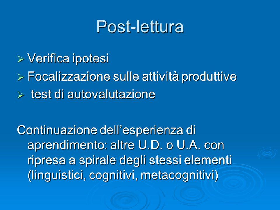 Post-lettura Verifica ipotesi Focalizzazione sulle attività produttive