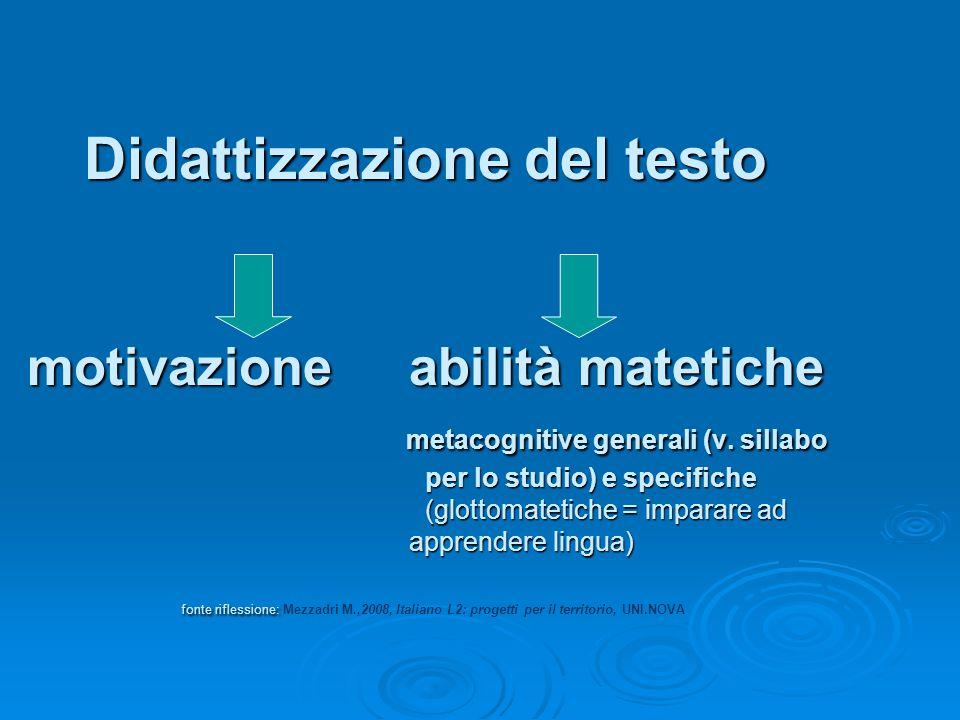 Didattizzazione del testo motivazione abilità matetiche