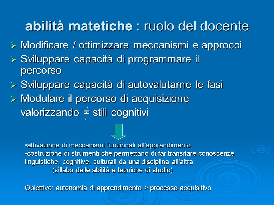 abilità matetiche : ruolo del docente