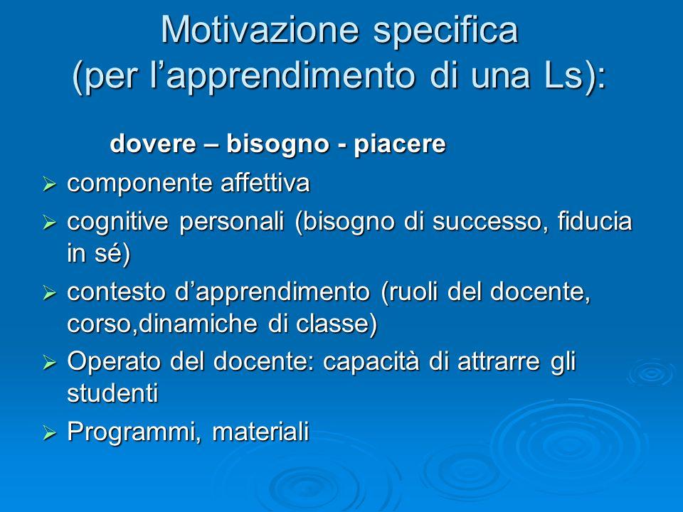 Motivazione specifica (per l'apprendimento di una Ls):