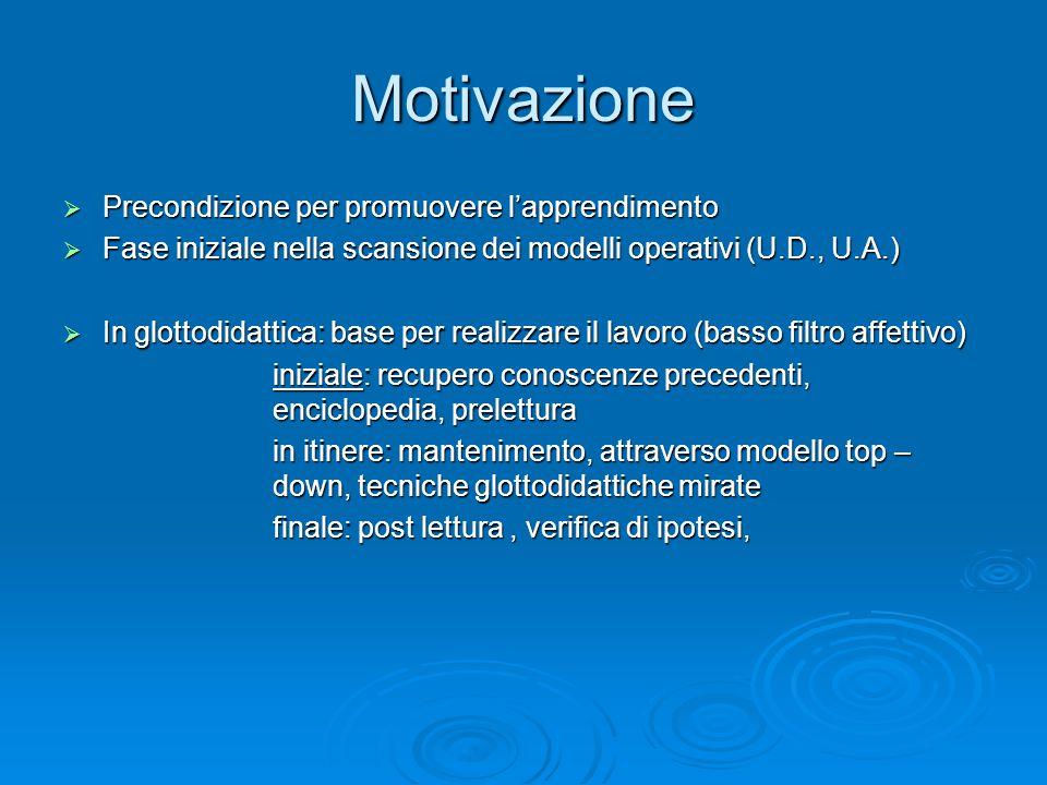 Motivazione Precondizione per promuovere l'apprendimento