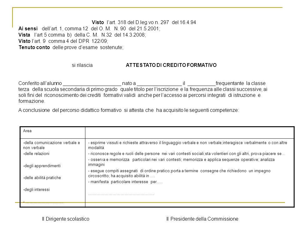 Visto l'art. 318 del D.leg.vo n. 297 del 16.4.94