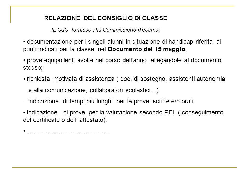 RELAZIONE DEL CONSIGLIO DI CLASSE
