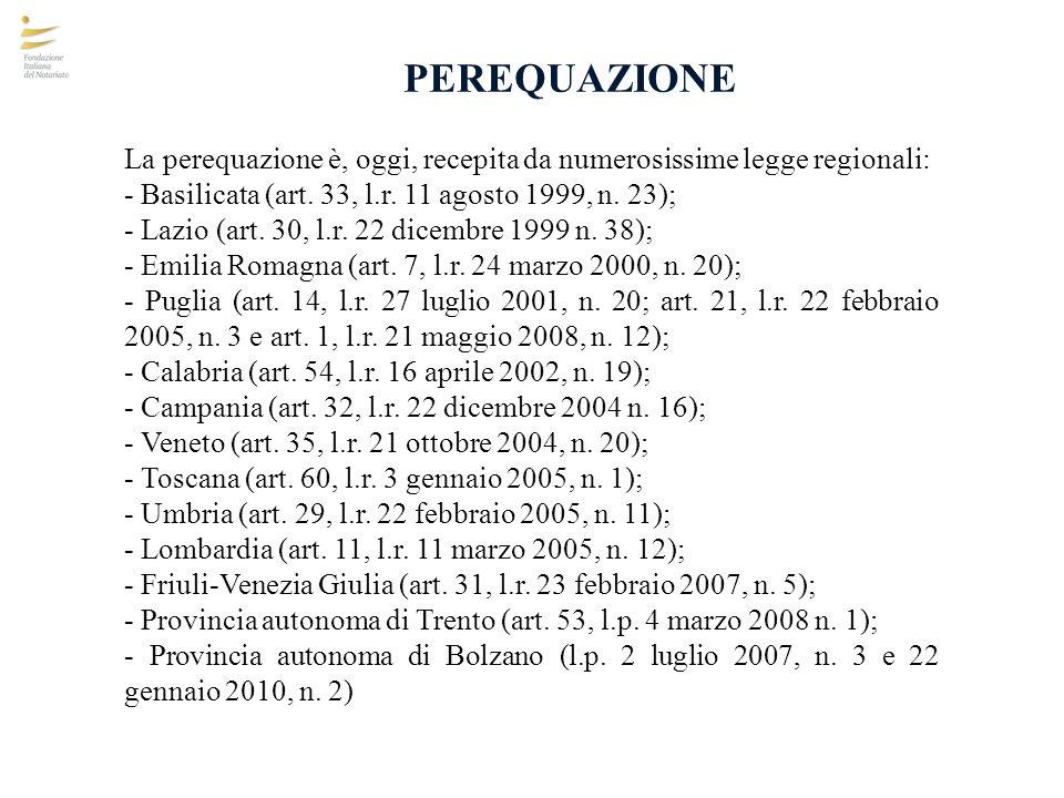 PEREQUAZIONE La perequazione è, oggi, recepita da numerosissime legge regionali: - Basilicata (art. 33, l.r. 11 agosto 1999, n. 23);