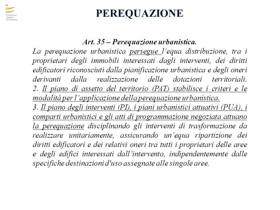 Art. 35 – Perequazione urbanistica.