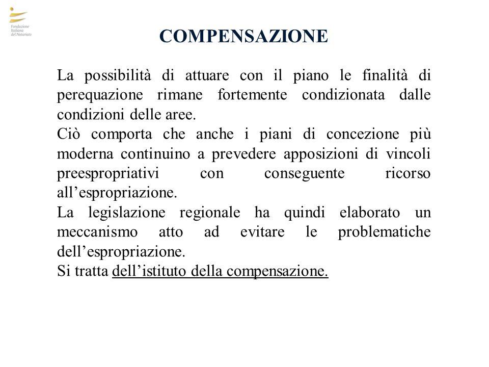 COMPENSAZIONE La possibilità di attuare con il piano le finalità di perequazione rimane fortemente condizionata dalle condizioni delle aree.