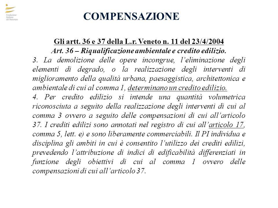 COMPENSAZIONE Gli artt. 36 e 37 della L.r. Veneto n. 11 del 23/4/2004
