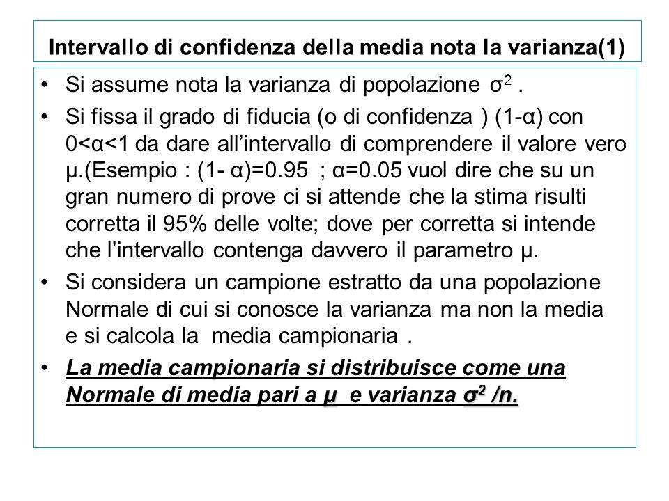 Intervallo di confidenza della media nota la varianza(1)