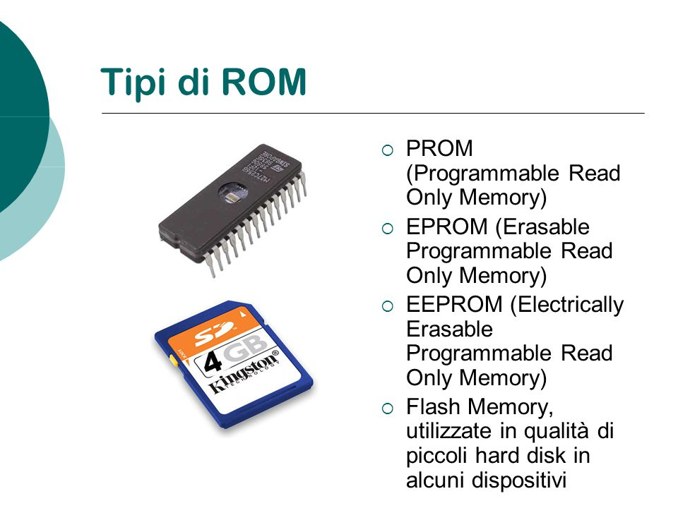 Tipi di ROM PROM (Programmable Read Only Memory)