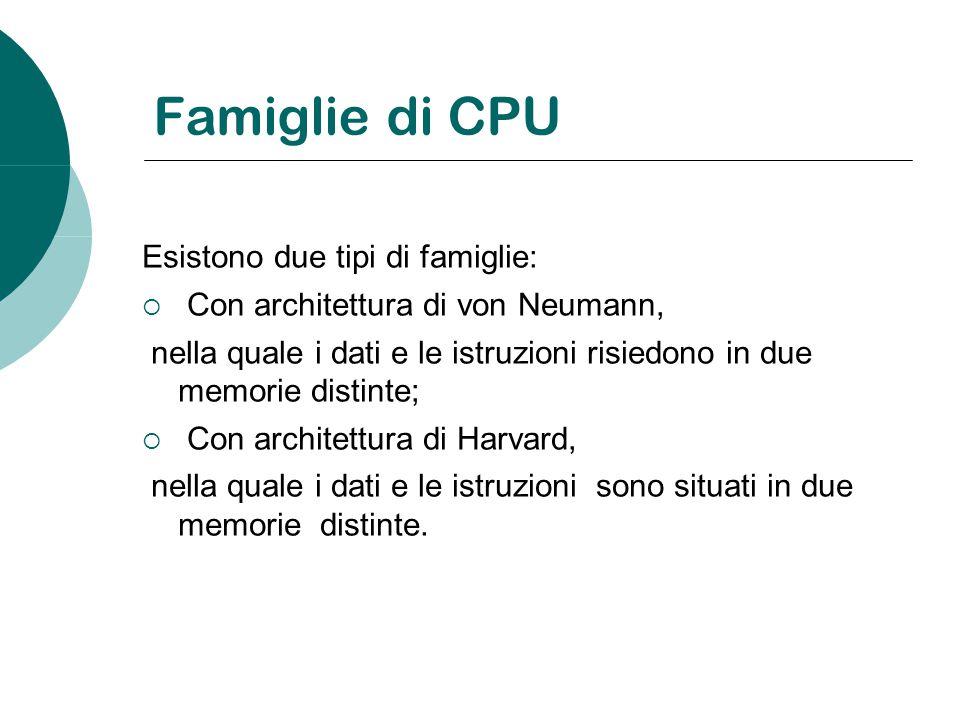 Famiglie di CPU Esistono due tipi di famiglie: