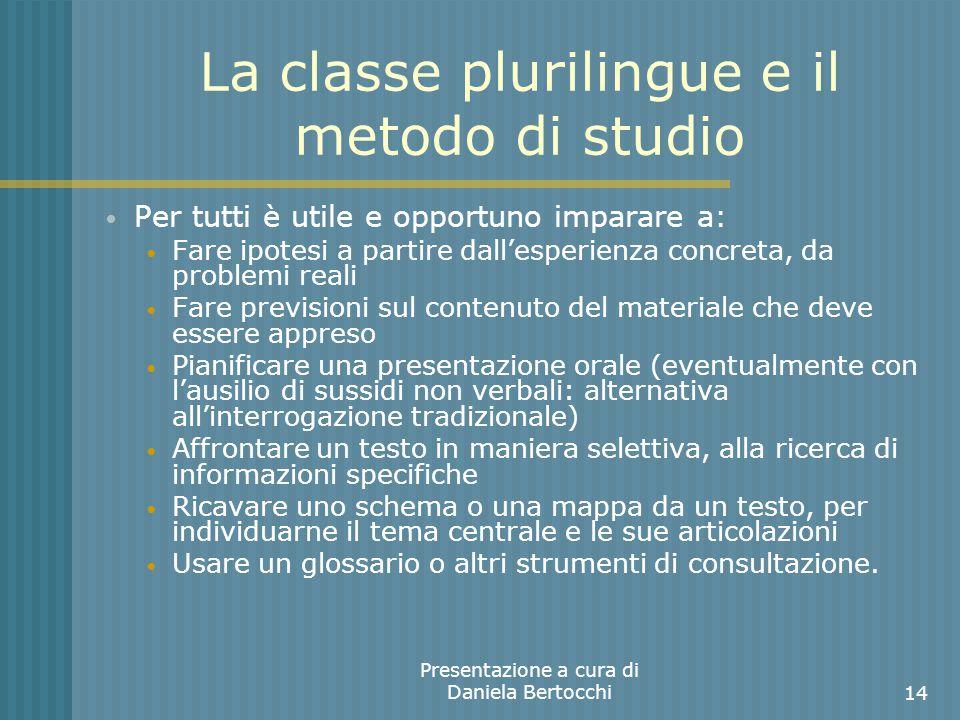 La classe plurilingue e il metodo di studio