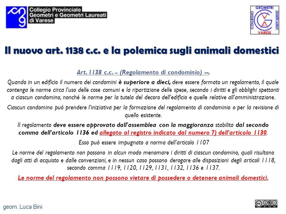Il nuovo art. 1138 c.c. e la polemica sugli animali domestici
