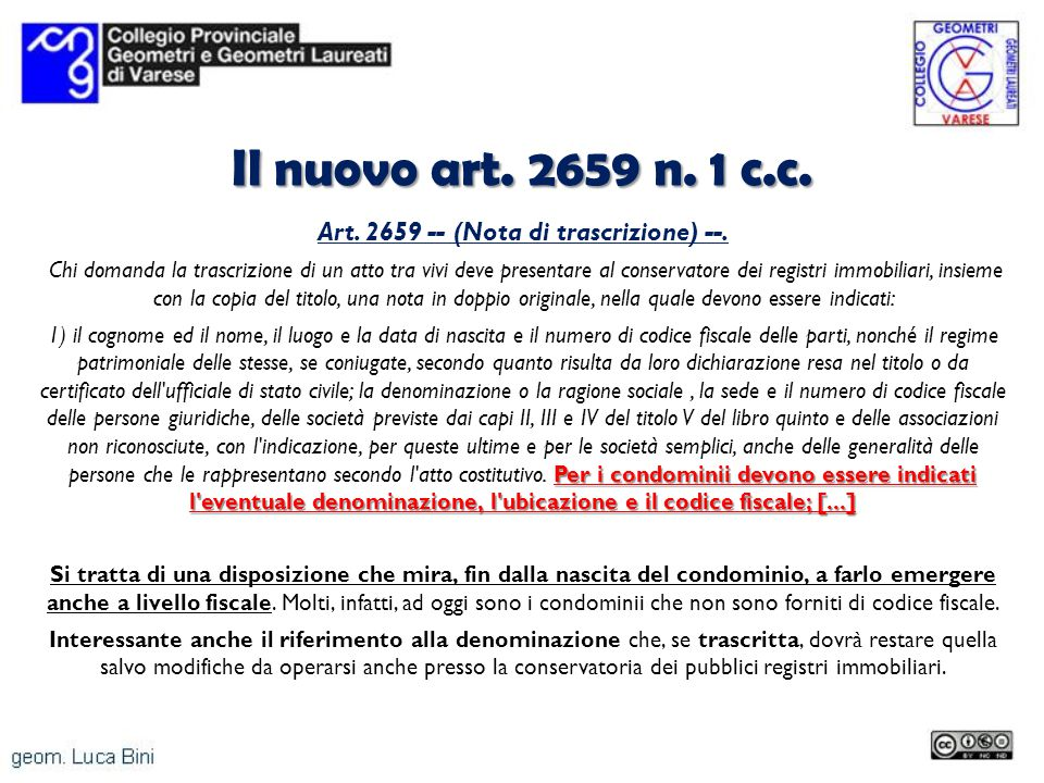 Art. 2659 -- (Nota di trascrizione) --.
