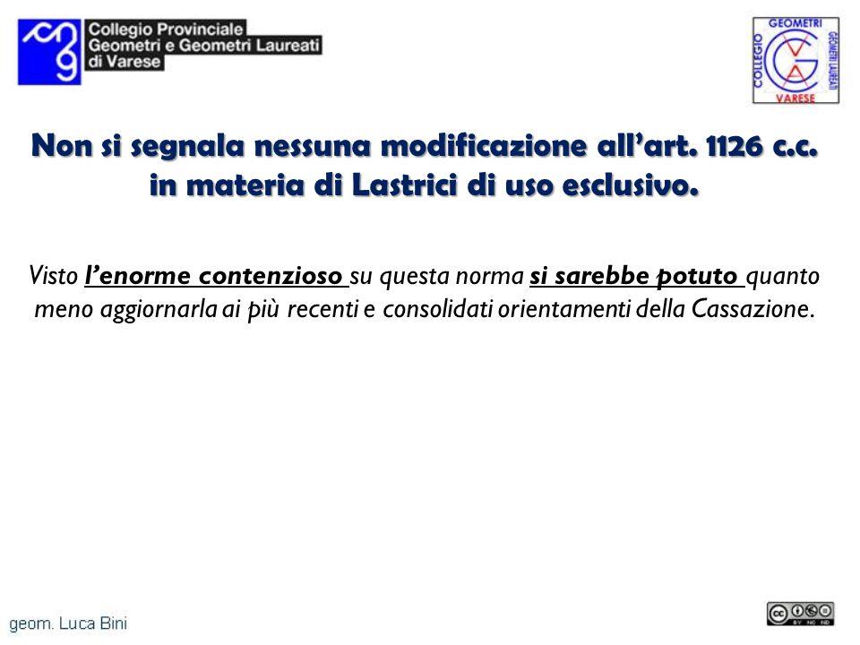 Non si segnala nessuna modificazione all'art. 1126 c. c