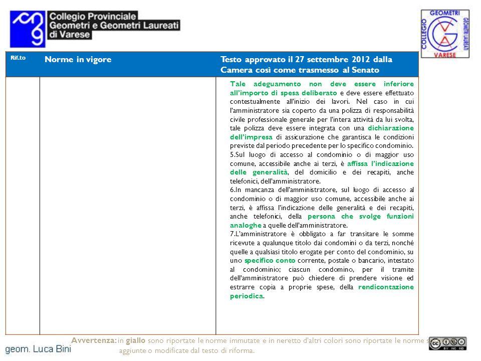 Rif.to Norme in vigore. Testo approvato il 27 settembre 2012 dalla Camera così come trasmesso al Senato.
