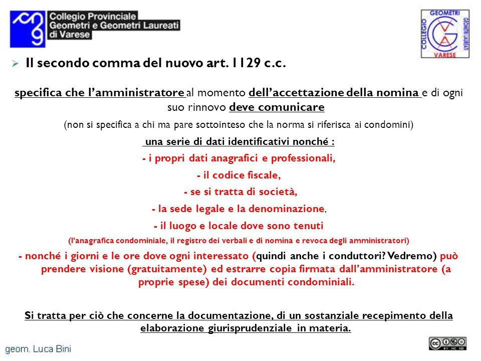 Il secondo comma del nuovo art. 1129 c.c.