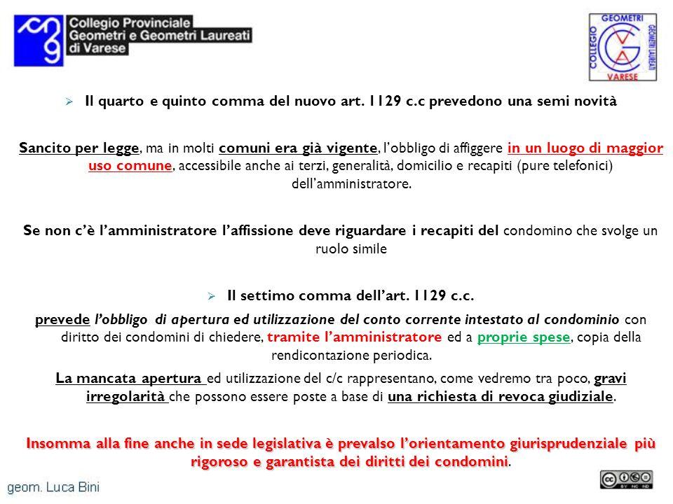 Il settimo comma dell'art. 1129 c.c.