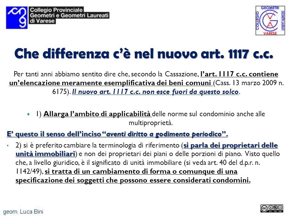 Che differenza c'è nel nuovo art. 1117 c.c.