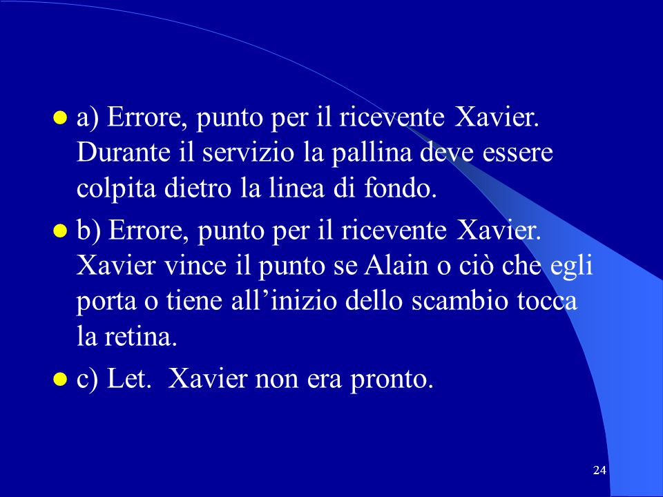 c) Let. Xavier non era pronto.