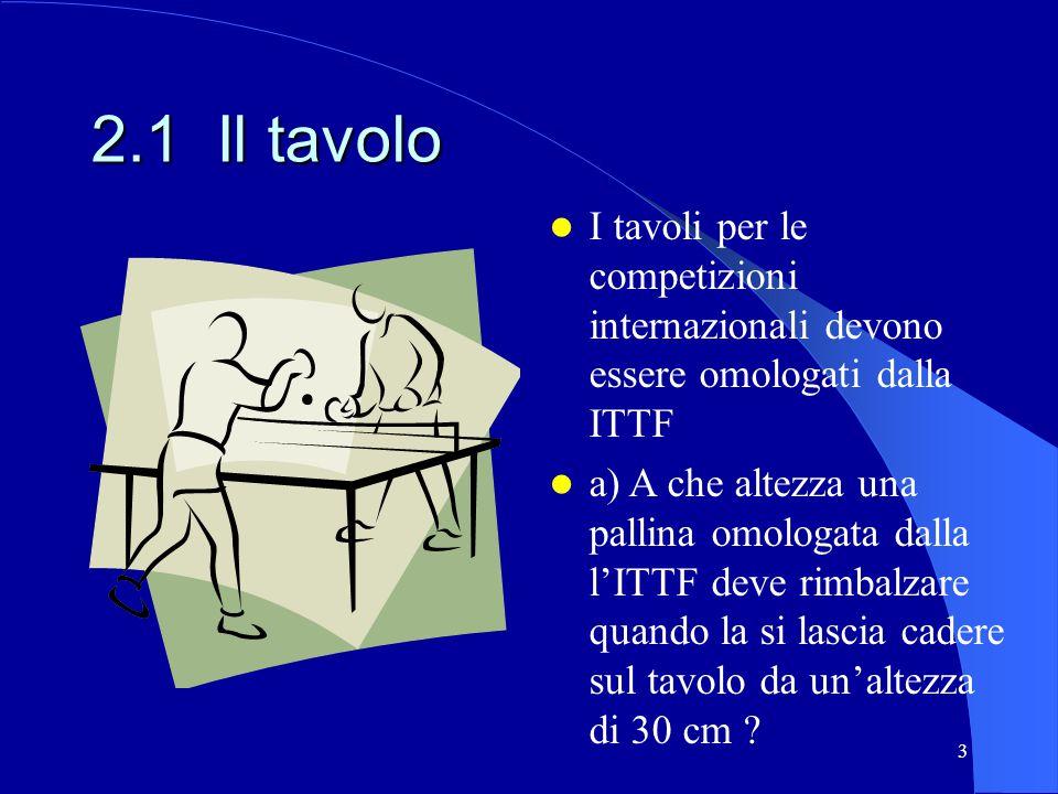 2.1 Il tavolo I tavoli per le competizioni internazionali devono essere omologati dalla ITTF.