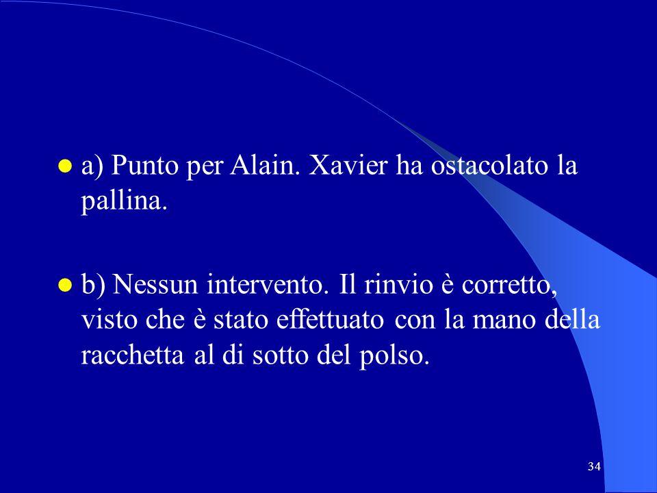 a) Punto per Alain. Xavier ha ostacolato la pallina.