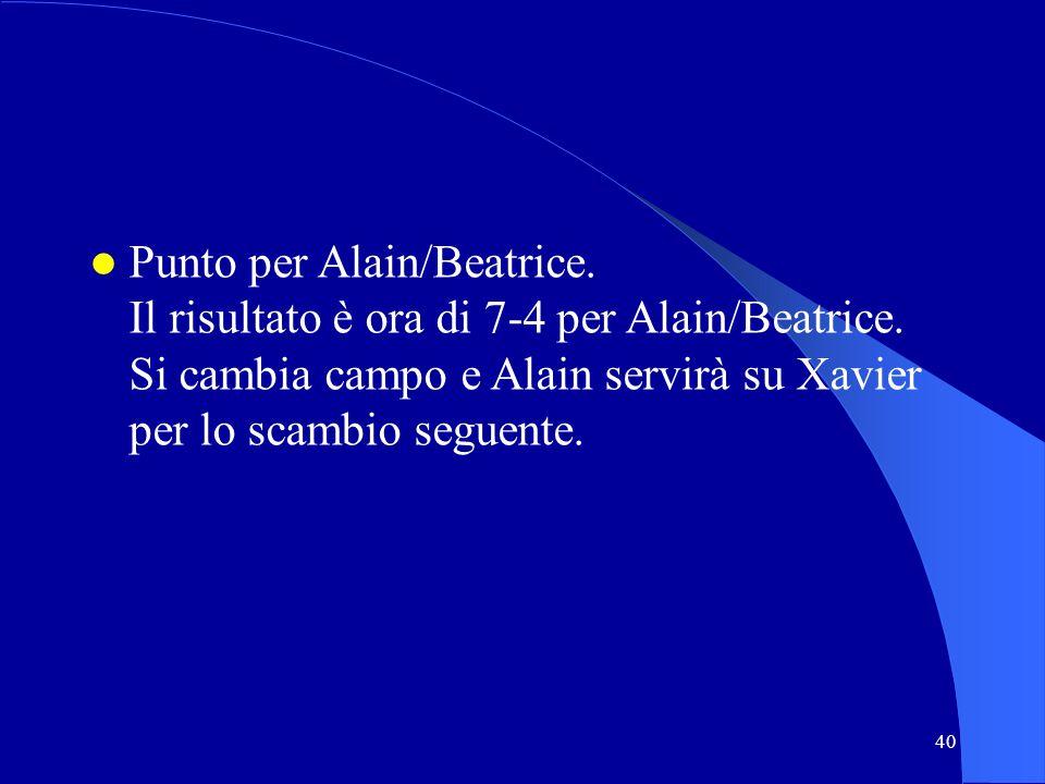 Punto per Alain/Beatrice. Il risultato è ora di 7-4 per Alain/Beatrice