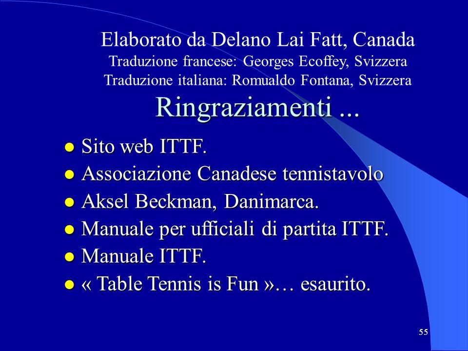 Ringraziamenti ... Elaborato da Delano Lai Fatt, Canada Sito web ITTF.