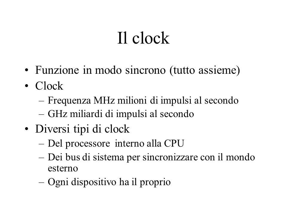 Il clock Funzione in modo sincrono (tutto assieme) Clock