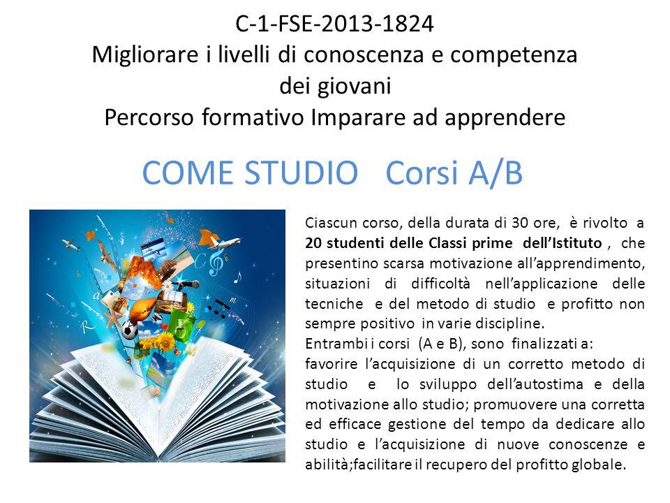 C-1-FSE-2013-1824 Migliorare i livelli di conoscenza e competenza dei giovani Percorso formativo Imparare ad apprendere