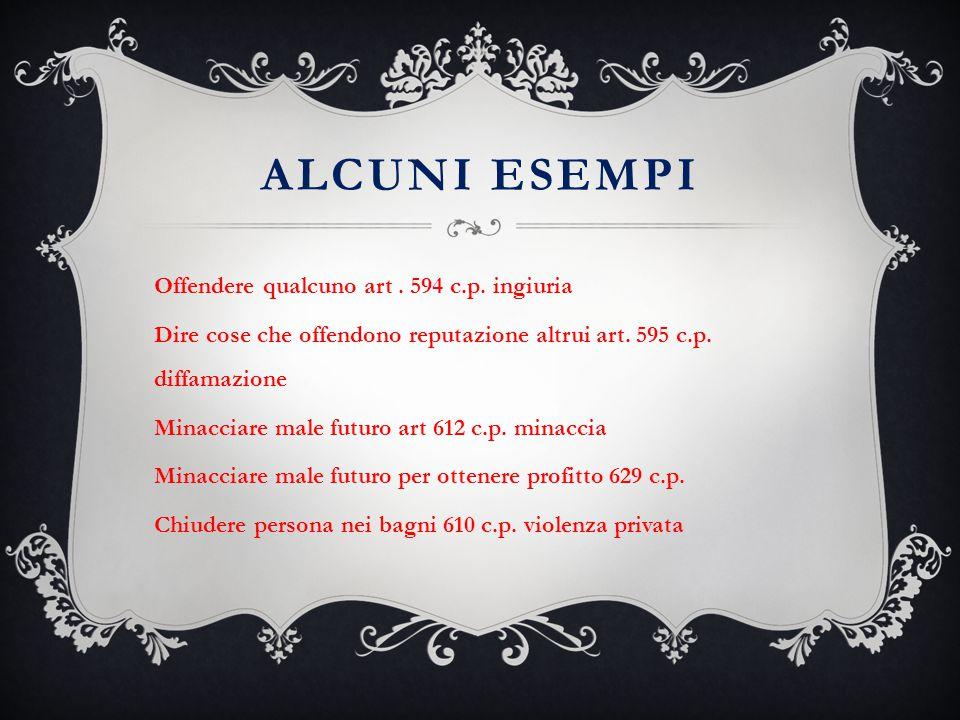 Alcuni esempi Offendere qualcuno art . 594 c.p. ingiuria