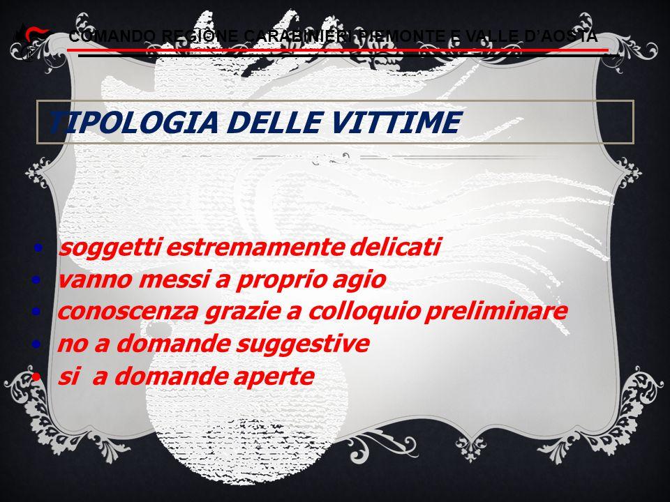 TIPOLOGIA DELLE VITTIME