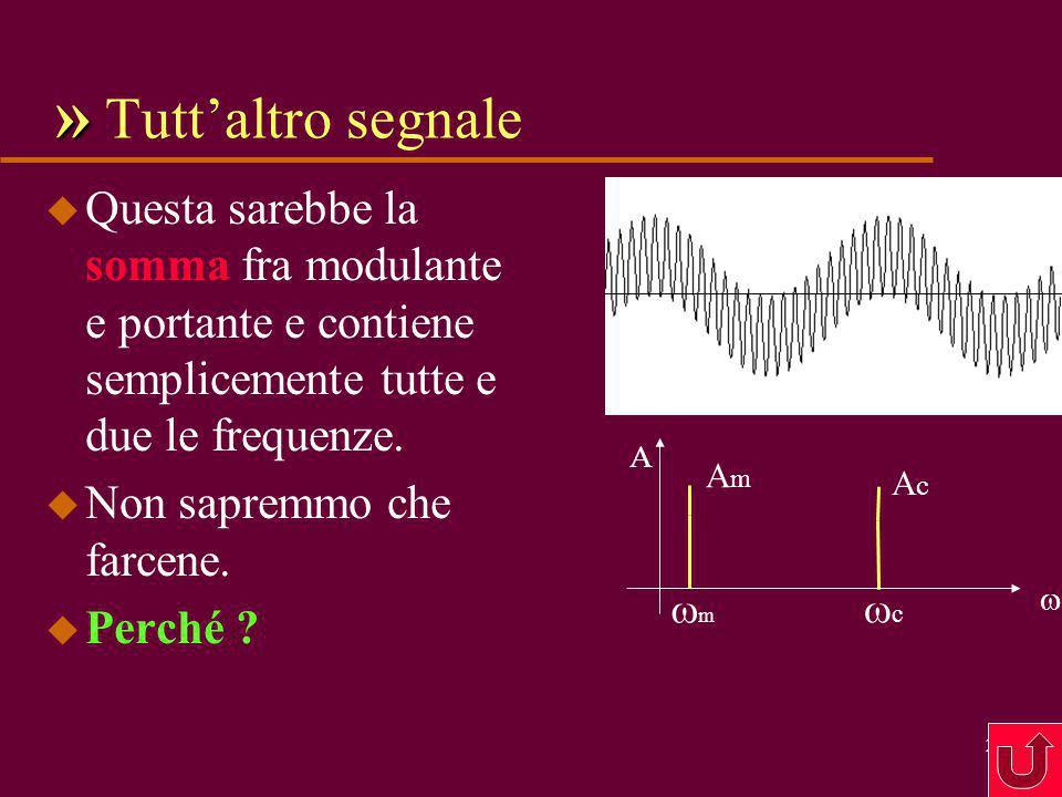 » Tutt'altro segnale Questa sarebbe la somma fra modulante e portante e contiene semplicemente tutte e due le frequenze.