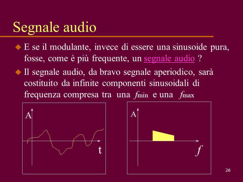 Segnale audio E se il modulante, invece di essere una sinusoide pura, fosse, come è più frequente, un segnale audio