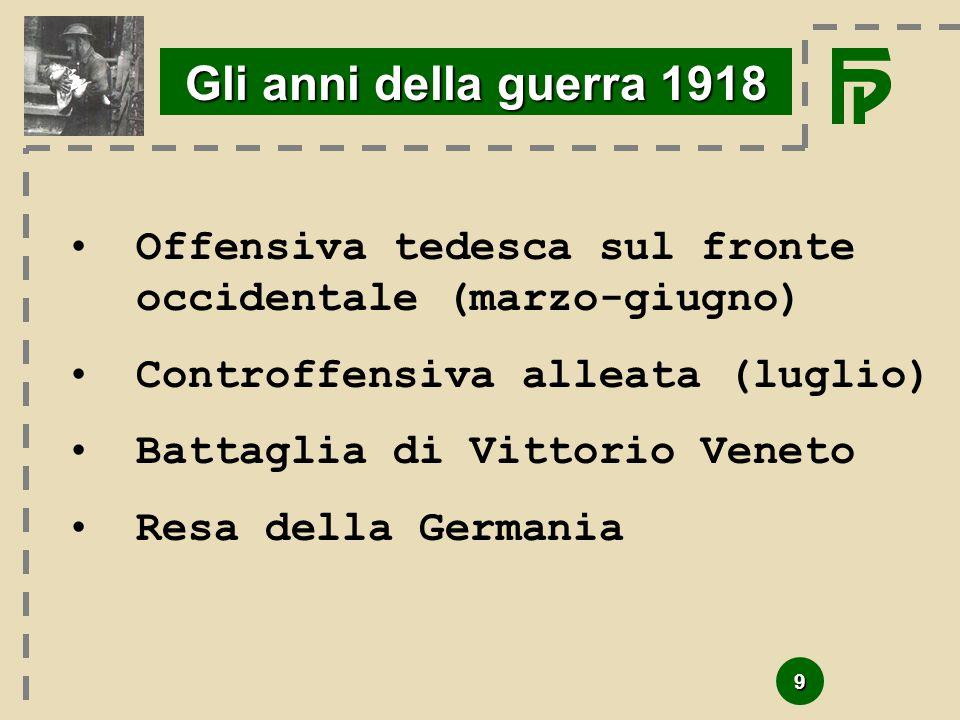 Gli anni della guerra 1918 Offensiva tedesca sul fronte occidentale (marzo-giugno) Controffensiva alleata (luglio)