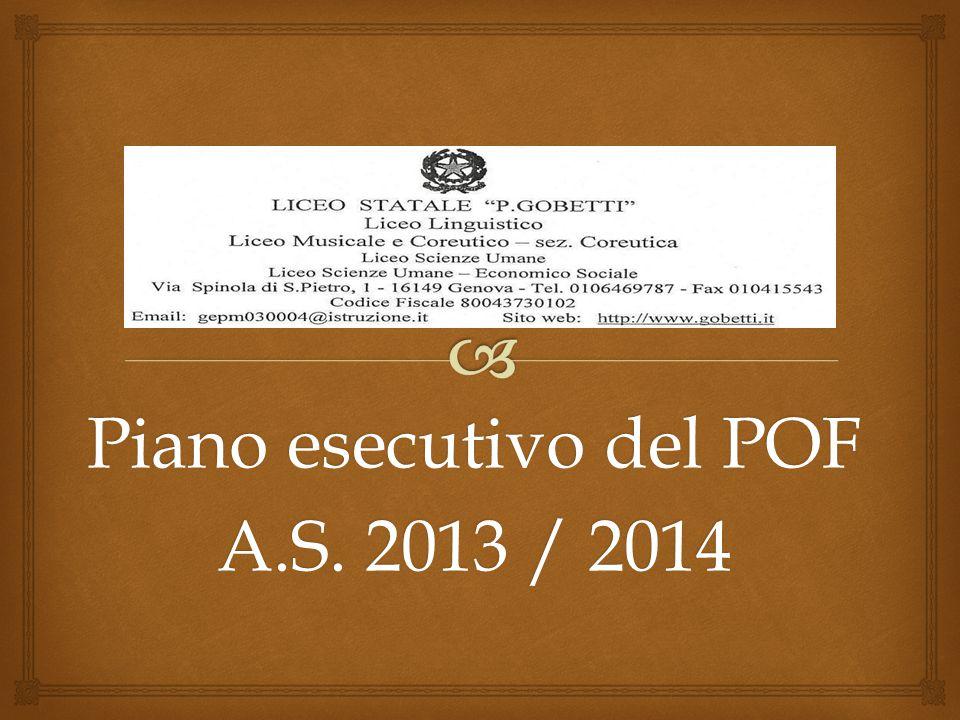 Piano esecutivo del POF A.S. 2013 / 2014