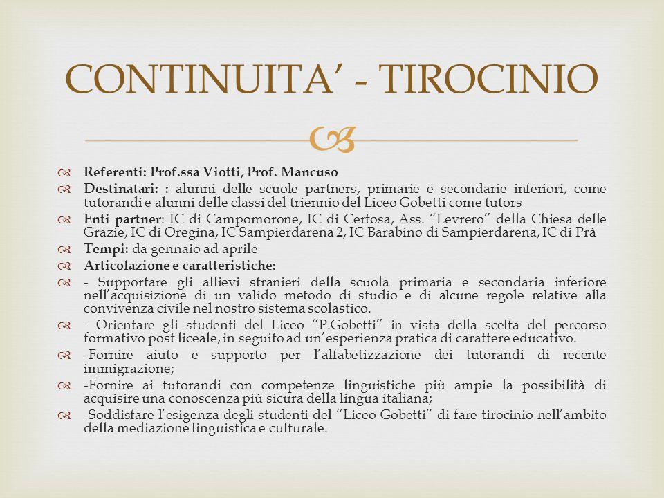 CONTINUITA' - TIROCINIO
