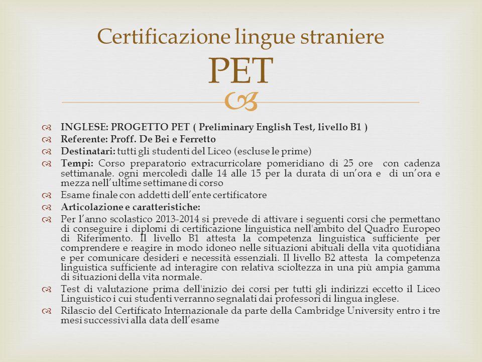 Certificazione lingue straniere PET