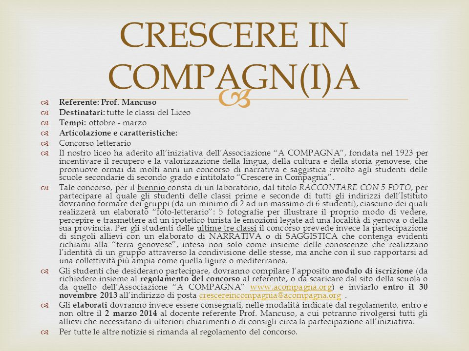 CRESCERE IN COMPAGN(I)A