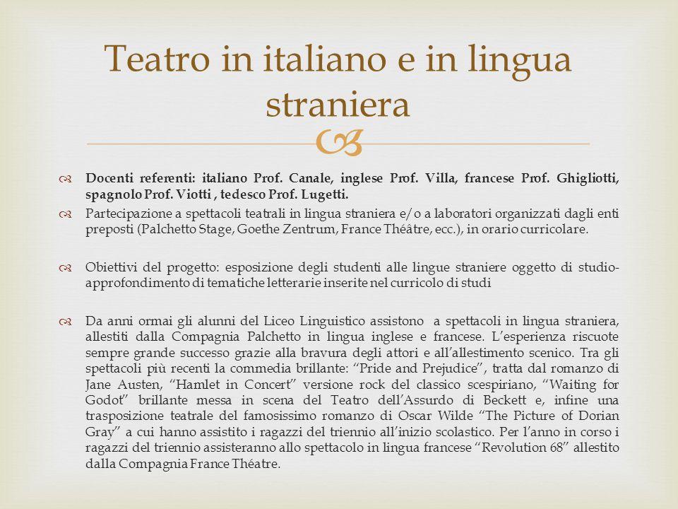 Teatro in italiano e in lingua straniera