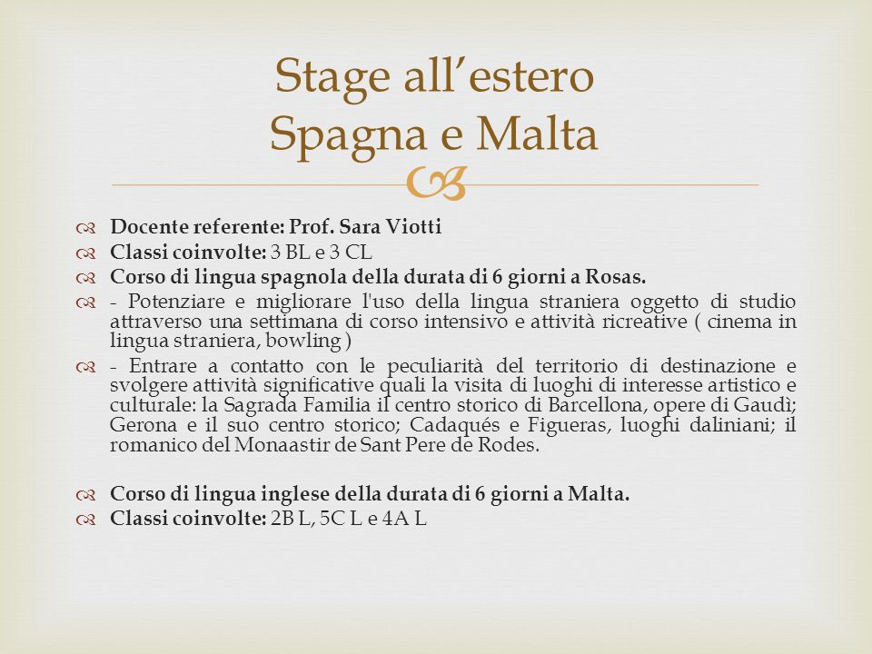 Stage all'estero Spagna e Malta