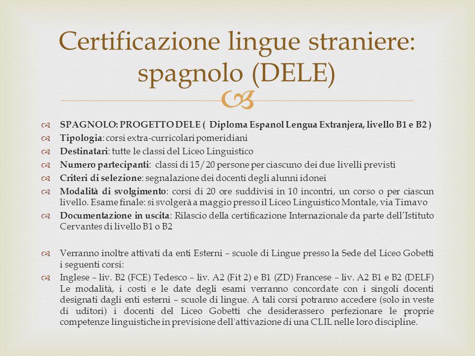 Certificazione lingue straniere: spagnolo (DELE)