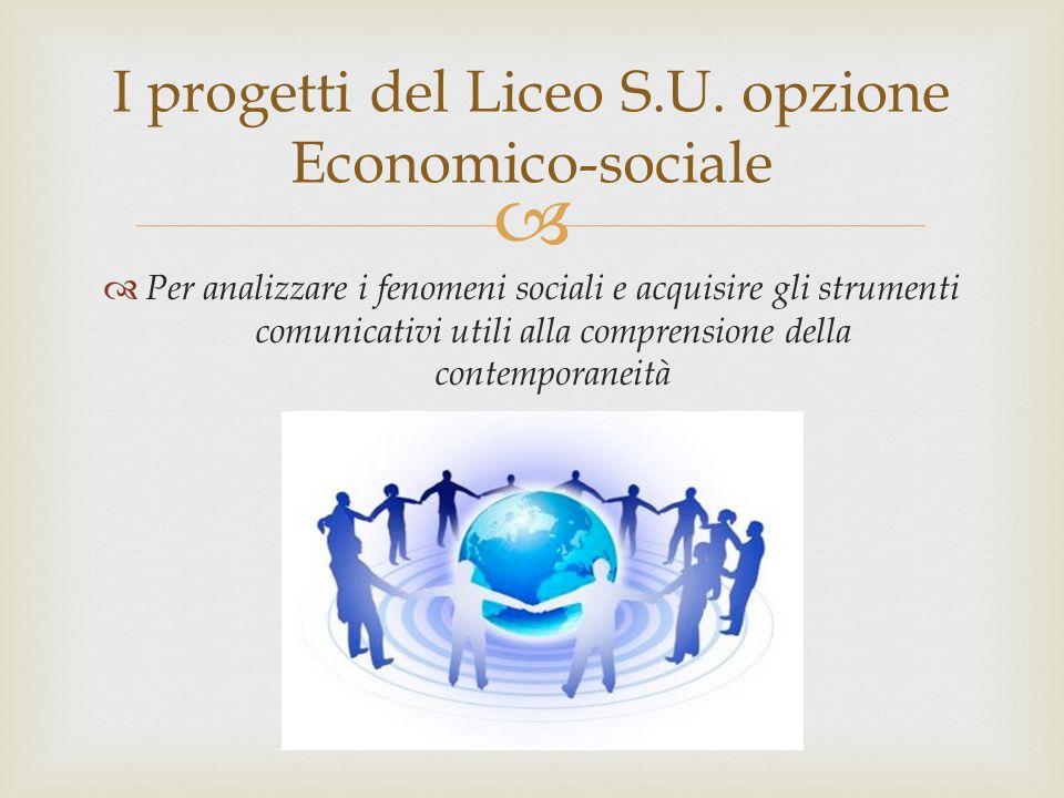 I progetti del Liceo S.U. opzione Economico-sociale