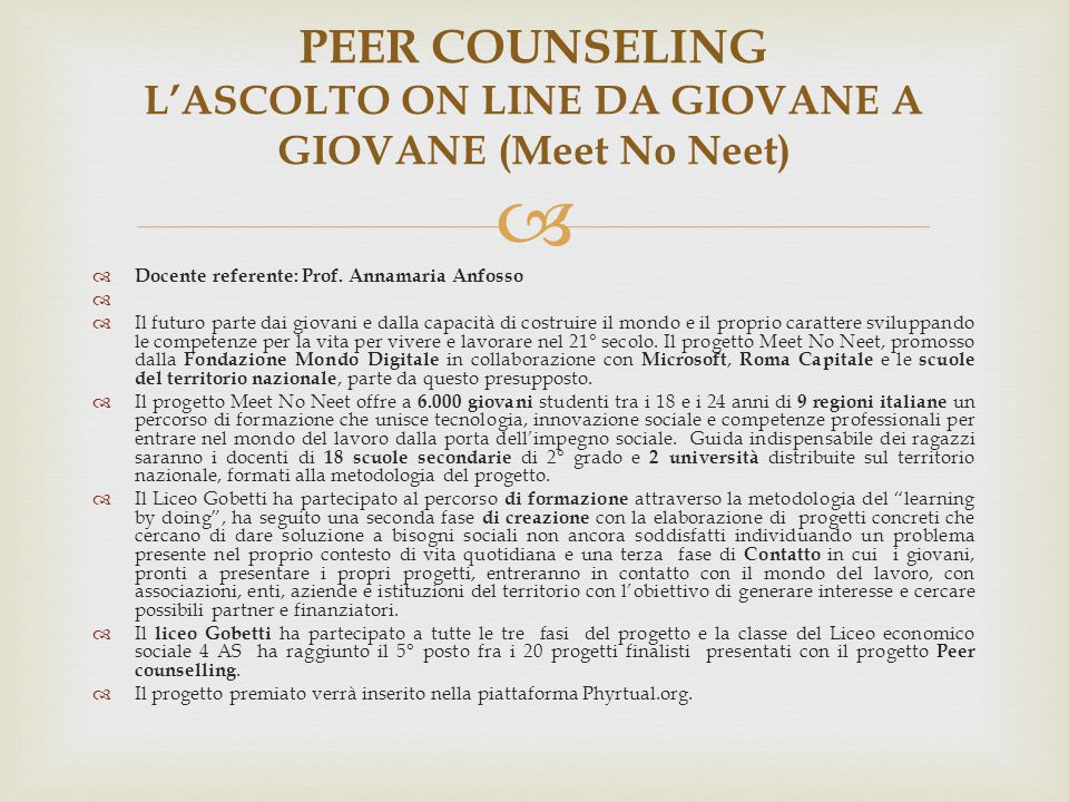 PEER COUNSELING L'ASCOLTO ON LINE DA GIOVANE A GIOVANE (Meet No Neet)